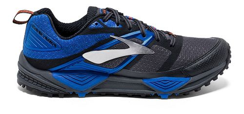 Mens Brooks Cascadia 12 Trail Running Shoe - Anthracite/Blue 11.5