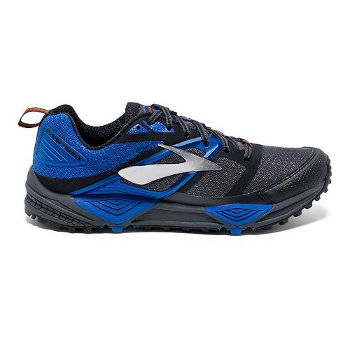 Mens Brooks Cascadia 12 Trail Running Shoe - Anthracite/Blue 8.5