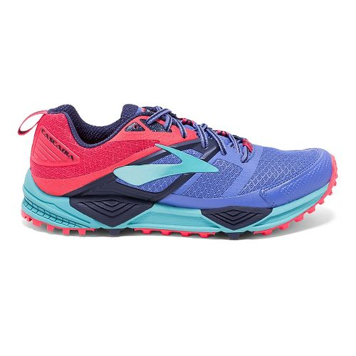 Womens Brooks Cascadia 12 Trail Running Shoe - Baja Blue/Paradise 6.5
