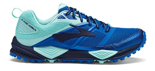 Womens Brooks Cascadia 12 Trail Running Shoe - Blue/Mint 7.5