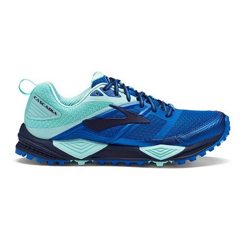 Womens Brooks Cascadia 12 Trail Running Shoe - Blue/Mint 10.5