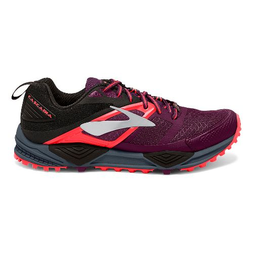 Womens Brooks Cascadia 12 Trail Running Shoe - Beet/Orange 7.5