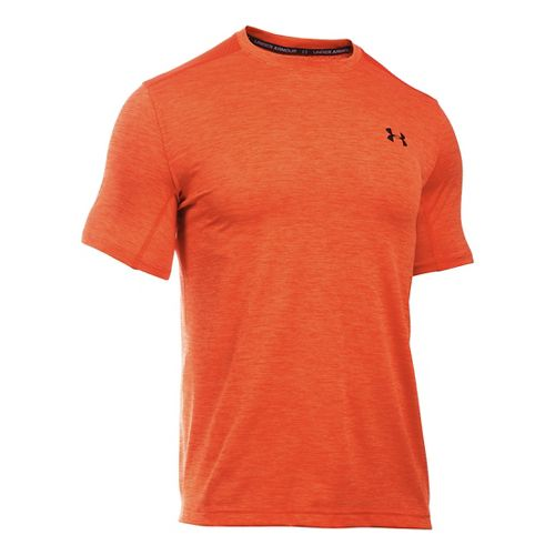Mens Under Armour Raid Turbo T Short Sleeve Technical Tops - Dark Orange L