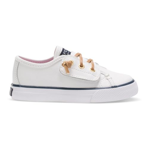 Sperry Seacoast Jr. Leather Casual Shoe - White Leather 5C