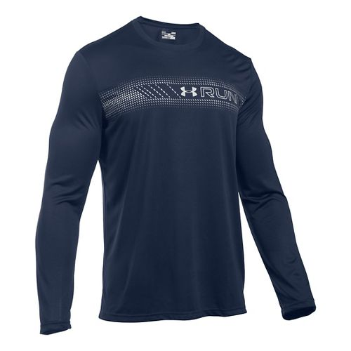 Mens Under Armour Run Icon Graphic Long Sleeve Technical Tops - Midnight Navy S