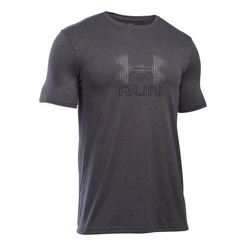 Mens Under Armour Run Icon Graphic Short Sleeve Technical Tops - Carbon/Reflective L