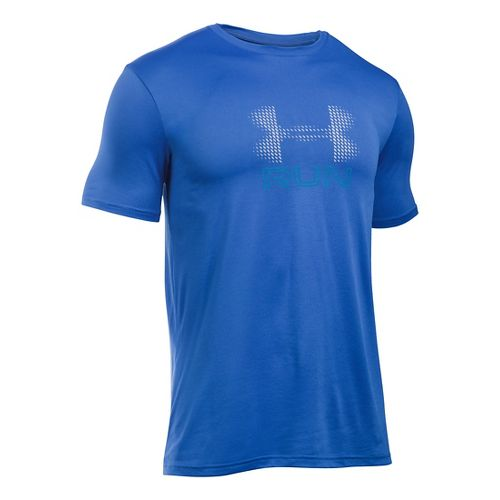 Mens Under Armour Run Icon Graphic Short Sleeve Technical Tops - Blue/Reflective L