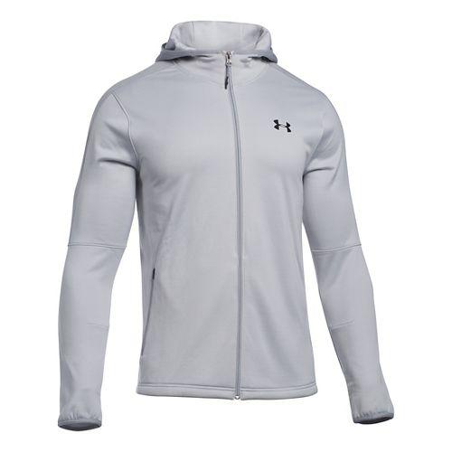 Mens Under Armour Scope Full-Zip Fleece Hoodie & Sweatshirts Technical Tops - Glacier Grey S