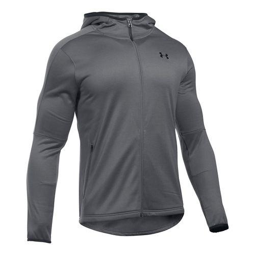 Mens Under Armour Scope Full-Zip Fleece Hoodie & Sweatshirts Technical Tops - Graphite XXL