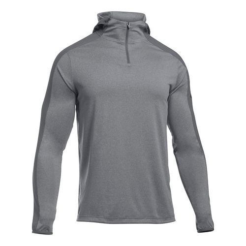 Mens Under Armour Scope Hooded 1/4 Zip Long Sleeve Technical Tops - Graphite MR