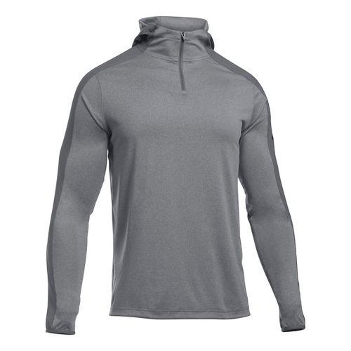 Mens Under Armour Scope Hooded 1/4 Zip Long Sleeve Technical Tops - Nova Teal XXLR