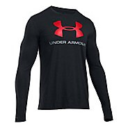 Mens Under Armour SportStyle Logo Tee Long Sleeve Technical Tops - Black/Steel L