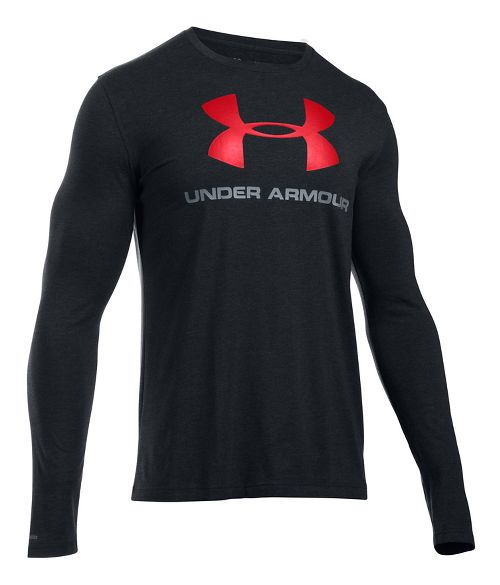 Mens Under Armour SportStyle Logo Tee Long Sleeve Technical Tops - Black/Steel 3XL