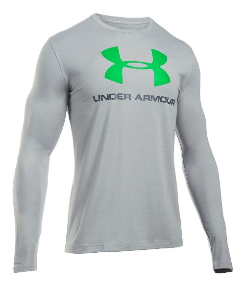 Mens Under Armour SportStyle Logo Tee Long Sleeve Technical Tops - Grey Heather/Green S