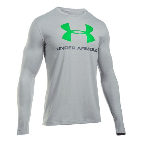 Mens Under Armour SportStyle Logo Tee Long Sleeve Technical Tops - Grey Heather/Green L