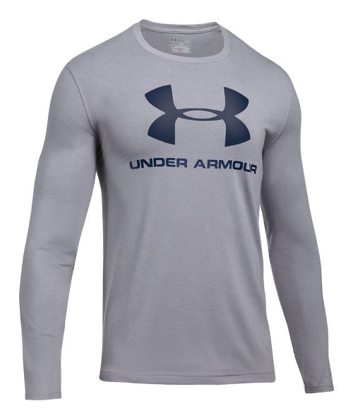Mens Under Armour SportStyle Logo Tee Long Sleeve Technical Tops - Black/Steel L
