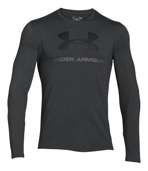 Mens Under Armour SportStyle Logo Tee Long Sleeve Technical Tops - Carbon Heather/Black XL