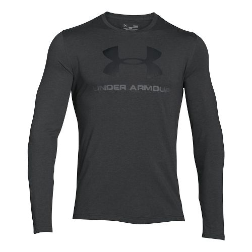 Mens Under Armour SportStyle Logo Tee Long Sleeve Technical Tops - Charcoal Heather/Red L