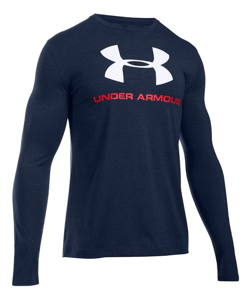 Mens Under Armour SportStyle Logo Tee Long Sleeve Technical Tops - Midnight Navy/White L