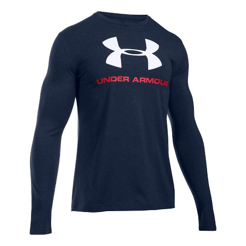 Mens Under Armour SportStyle Logo Tee Long Sleeve Technical Tops - White/Graphite L