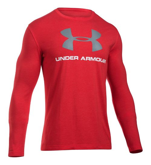 Mens Under Armour SportStyle Logo Tee Long Sleeve Technical Tops - Red/Steel XL