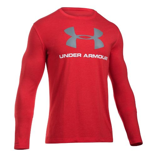 Mens Under Armour SportStyle Logo Tee Long Sleeve Technical Tops - Red/Steel XXL