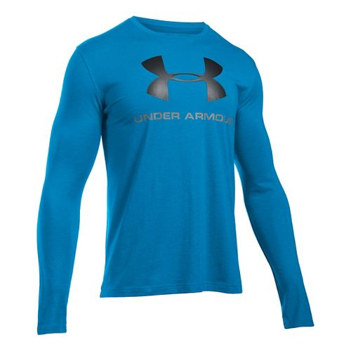 Mens Under Armour SportStyle Logo Tee Long Sleeve Technical Tops - Brilliant Blue/Black XXL