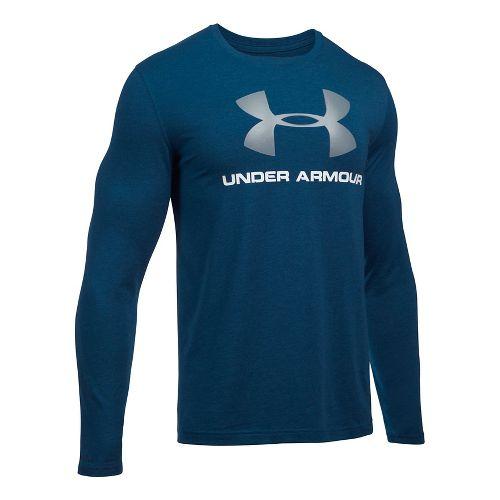 Mens Under Armour SportStyle Logo Tee Long Sleeve Technical Tops - Black/Steel 3XL