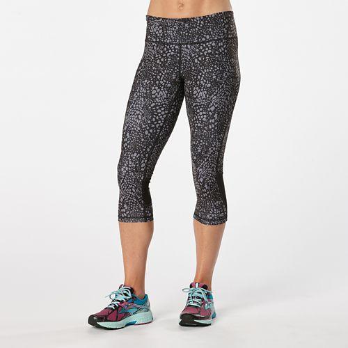 Womens Road Runner Sports Recharge Compression Printed Capri Tights - Black/Grey Mist Dot L