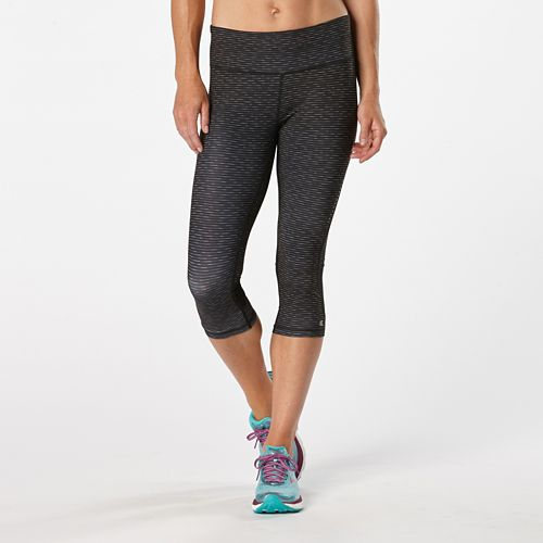 Womens Road Runner Sports Recharge Compression Printed Capri Tights - Heather Black Stripe M