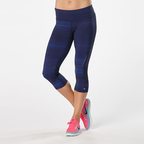 Womens Road Runner Sports Recharge Compression Printed Capri Tights - Sapphire Stripe XS