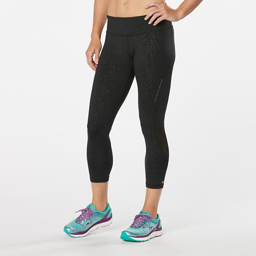 Womens Road Runner Sports Recharge Compression Printed Crop Capris Tights - Black Embossed XL