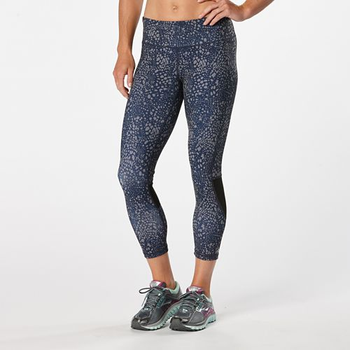 Womens R-Gear Recharge Compression Printed Crop Capris Tights - Midnight Blue/Dot L