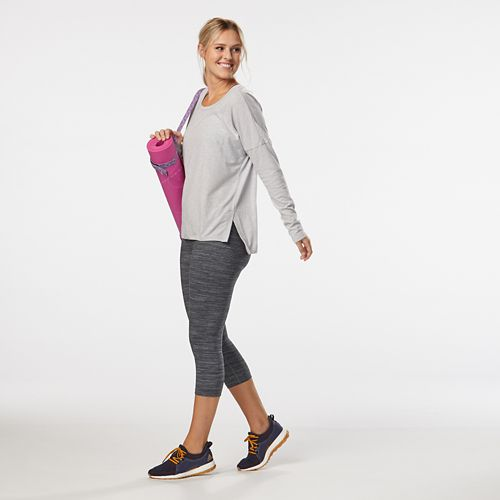 Womens Road Runner Sports Leg Up Capri II Tights - Heather Charcoal M