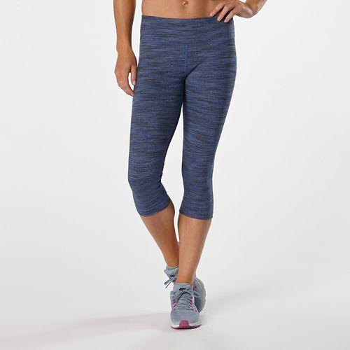 Womens Road Runner Sports Leg Up Printed Capri II Tights - Sapphire Spacedye XS