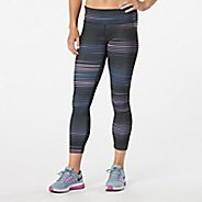 Womens R-Gear Leg Up Printed Crop II Capris Tights - Vivid Orchid Stripe M