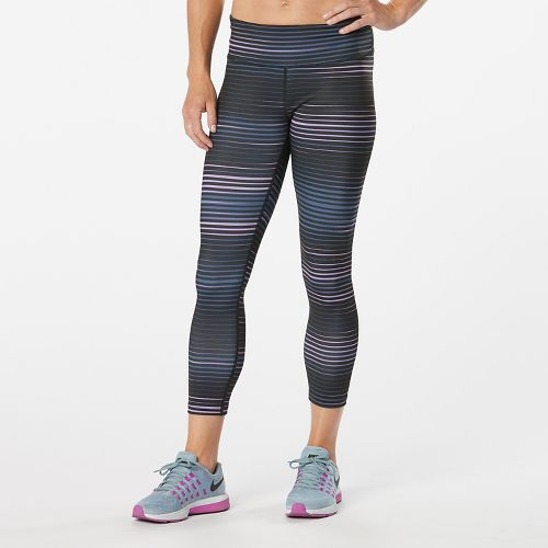 Womens Road Runner Sports Leg Up Printed Crop II Capris Tights - Vivid Orchid Stripe ...