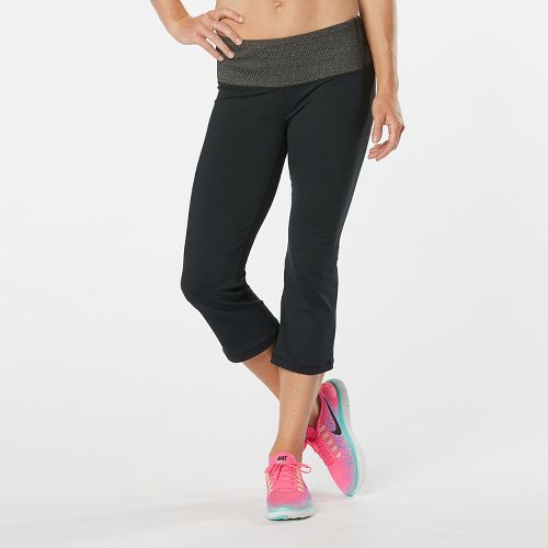Womens Road Runner Sports Run, Walk, Play Capri 2 Pants - Black/Black Jacquard L