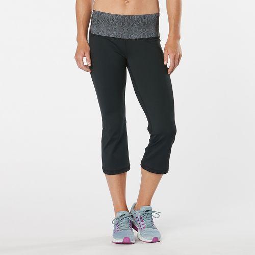 Womens Road Runner Sports Run, Walk, Play Capri 2 Pants - Black/Snake L