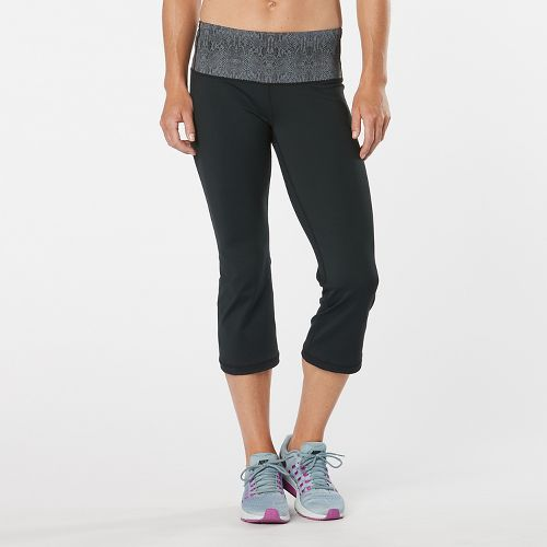 Womens Road Runner Sports Run, Walk, Play Capri 2 Pants - Black/Snake S