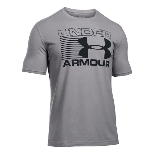 Mens Under Armour Stack Attack T Short Sleeve Technical Tops - Grey Heather/Black M