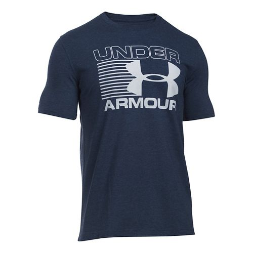 Mens Under Armour Stack Attack T Short Sleeve Technical Tops - Midnight Navy/Grey M