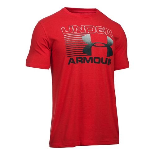 Mens Under Armour Stack Attack T Short Sleeve Technical Tops - Red/White/Black M