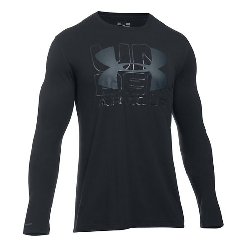 Mens Under Armour Visionary T Long Sleeve Technical Tops - Black/Stealth Grey M