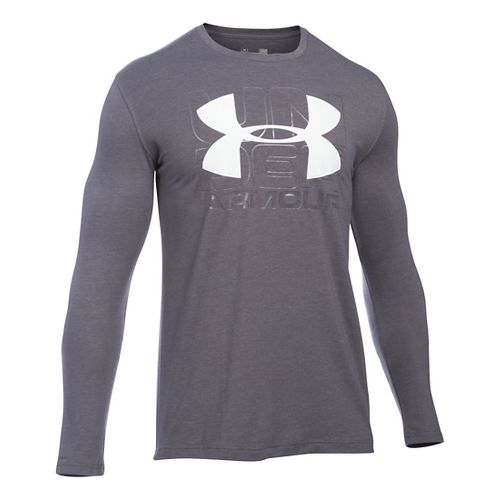 Mens Under Armour Visionary T Long Sleeve Technical Tops - Carbon Heather/White XXL