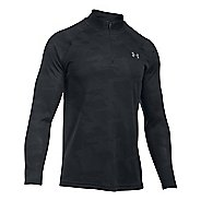Mens Under Armour Tech Jacquard 1/4 Zip Long Sleeve Technical Tops - Black/Stealth Grey XXL