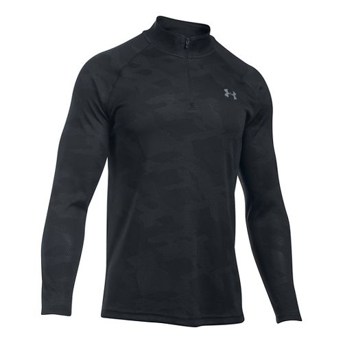 Mens Under Armour Tech Jacquard 1/4 Zip Long Sleeve Technical Tops - Black/Stealth Grey S ...