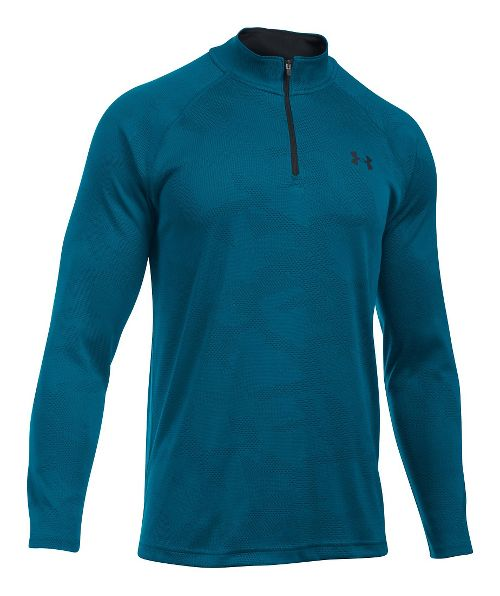 Mens Under Armour Tech Jacquard 1/4 Zip Long Sleeve Technical Tops - Peacock/Black XL