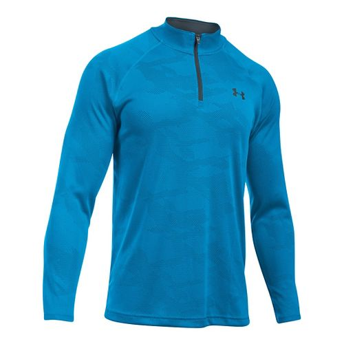 Mens Under Armour Tech Jacquard 1/4 Zip Long Sleeve Technical Tops - Brilliant Blue/Grey L ...
