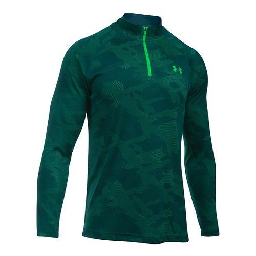 Mens Under Armour Tech Jacquard 1/4 Zip Long Sleeve Technical Tops - Nova Teal/Green M ...